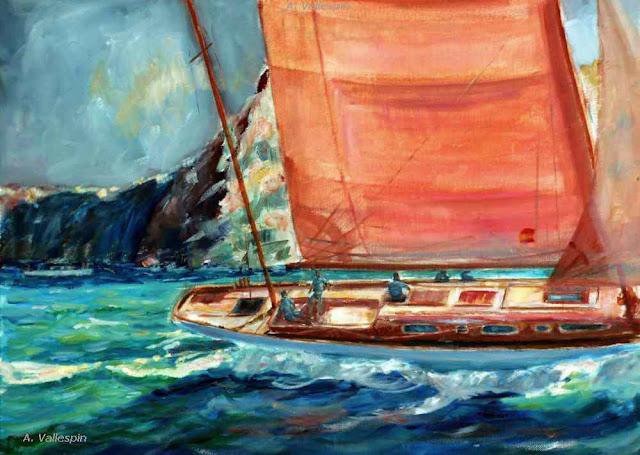 Óleo de un velero con vela roja