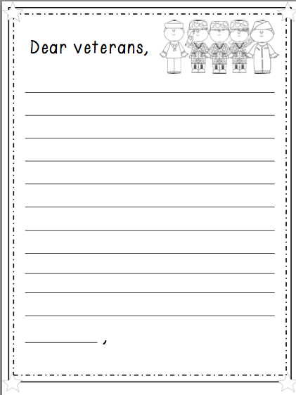 Number names worksheets veterans day math worksheets for Veterans day thank you letter template