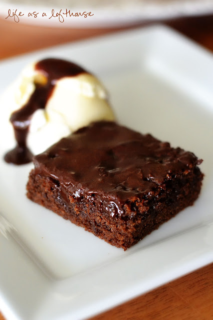 Chocolate Fudge Brownies are gooey and chocolatey brownies covered in a chocolate glaze. Life-in-the-Lofthouse.com