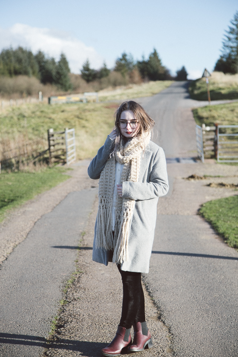 winter warmer outfit primark coat topshop chunky knit oversized scarf