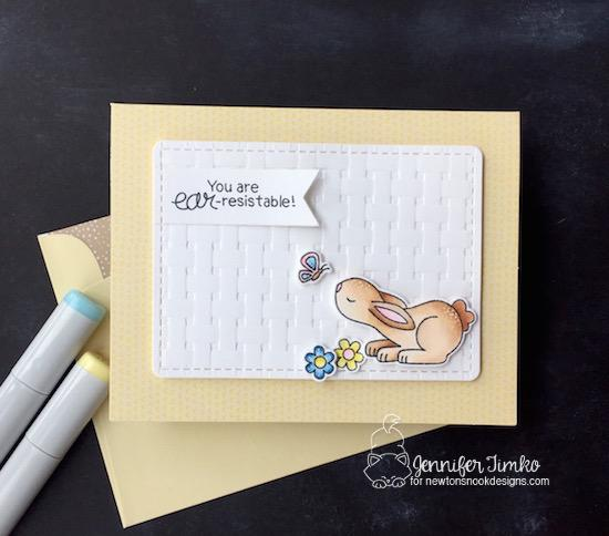 Bunny Card by Jennifer Timko | Bitty Bunnies Stamp Set and Die Set by Newton's Nook Designs #newtonsnook