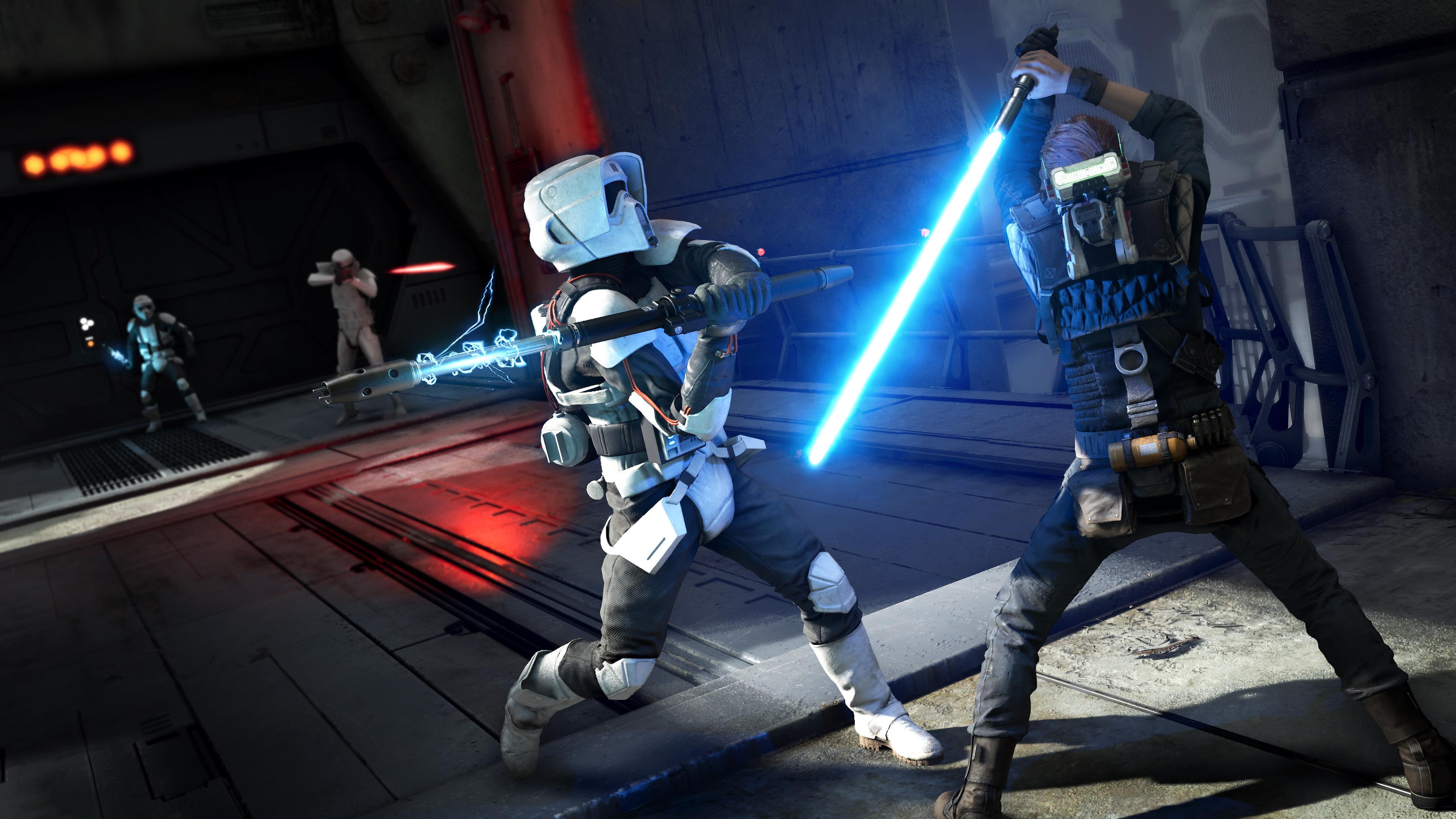 Star Wars Jedi Fallen Order Lightsaber Battle 4k Wallpaper 12
