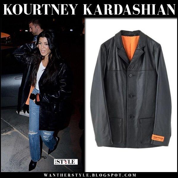 Kourtney Kardashian in black leather jacket heron preston, ripped jeans and black mules celine street fashion november 1 2017