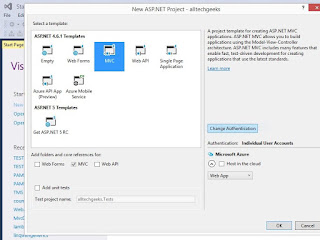 Create First ASP.NET MVC Web application