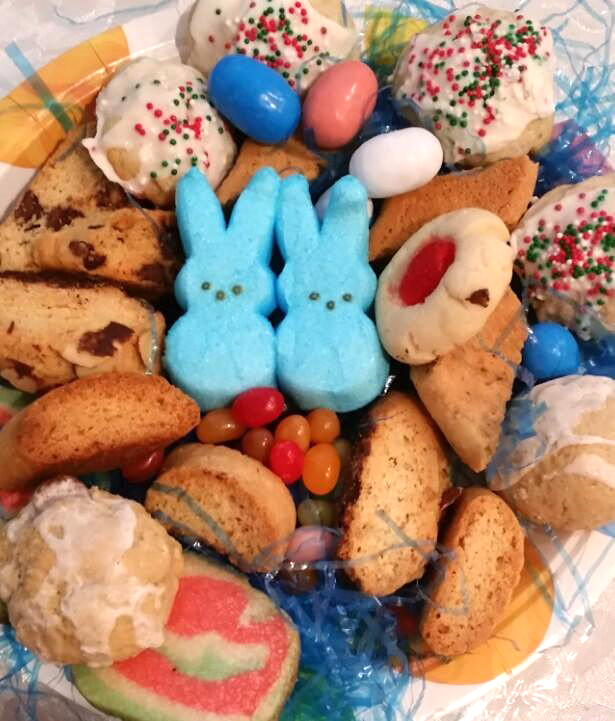 these are peeps in a bowl of cookies