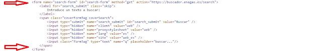 código fuente del buscador donde la etiqueta <label> esta sin asociar