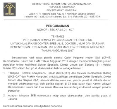 Surat Pengumuman dari Kementerian Hukum dan HAM terkait CPNS 2017