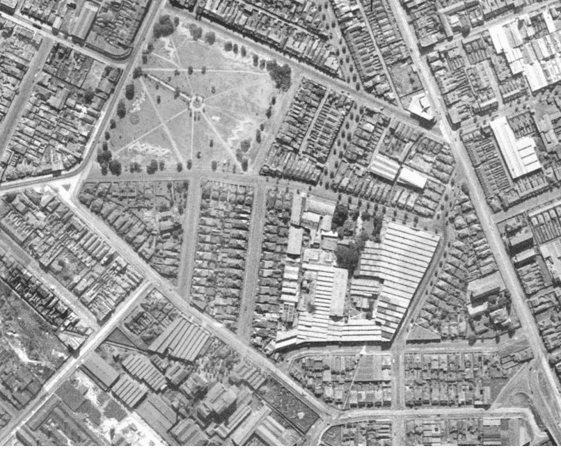 Marrickville Heritage  Aerial Maps of Sydney   1943 Our second map  from 1943 shows similar paths in the layout of the park   however there is nothing in the top right corner  The trees are immature  and what