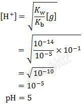 Cara menentukan atau rumus pH hidrolisis garam yang berasal dari asam lemah dan basa kuat, [H^+ ]=√(K_w/K_b  [g] )