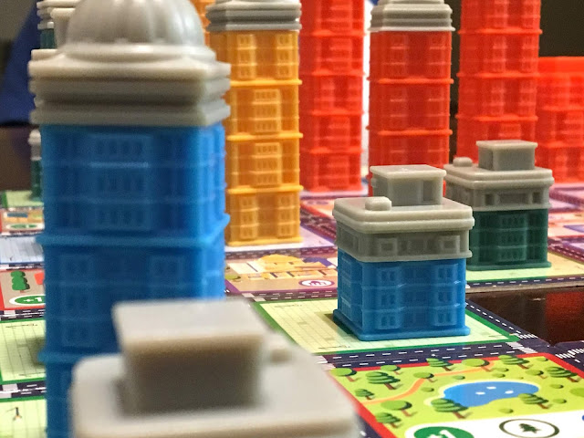 Close up of the city in Expancity, the board game by Breaking Games; photo by Benjamin Kocher