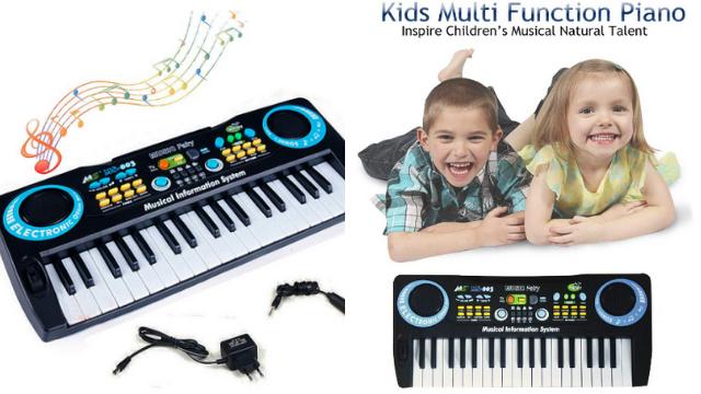 Early Learning Centre (ELC) Kids Piano, 37 Keys Standard Size Multi-Function Electronic Organ Musical Kids Piano Teaching Keyboard for Kids Children Birthday … (Black) (Black)