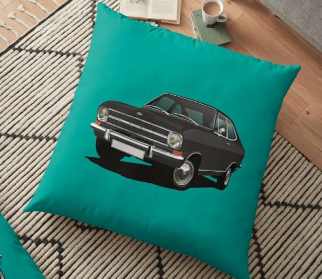 Black Opel Kadett B Coupé pillow decor