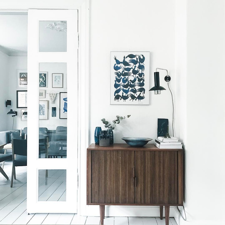 Scandinavian interior with a Danish modern sideboard