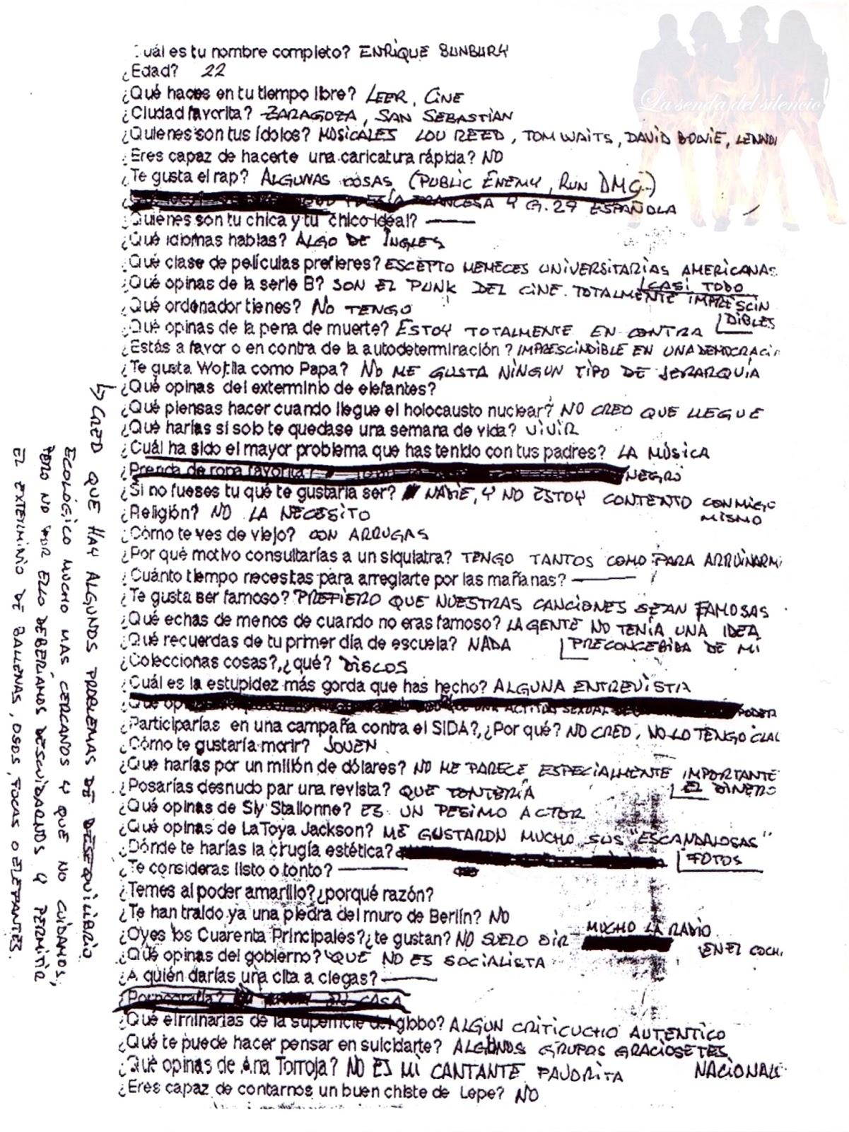 La Senda Del Silencio Cuestionario De Patricia Godes A Héroes Del Silencio 1993