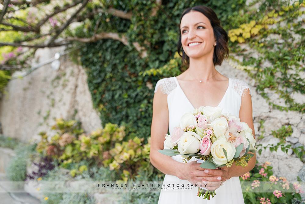 Bride in the garden at her Amalfi wedding