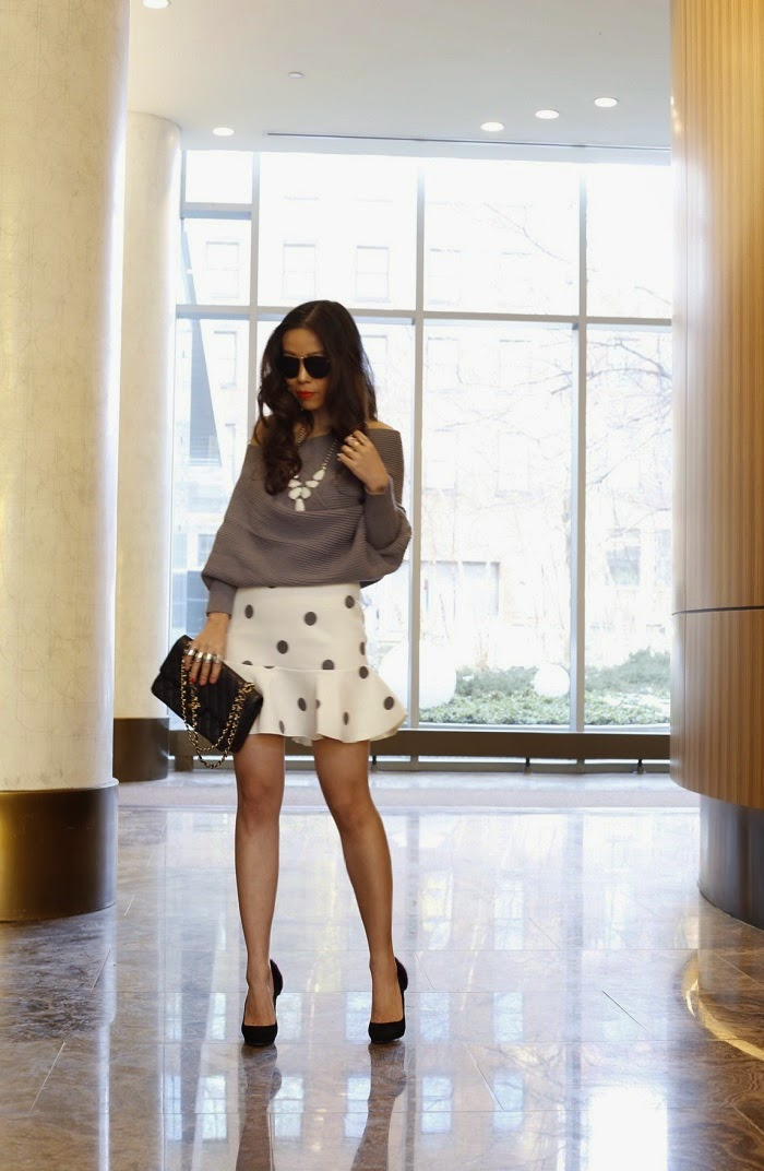 joa polka dot skirt, romwe off shoulder sweater, chanel bag, baublebar rings, pearl ring, christian louboutin heels, curly hair, ysl lipstick, shopbop sale, deal, datenight outfit, karen walker sunglasses, kendra scott harlie statement necklace