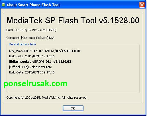 Update official dari sp flashtool