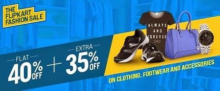 Flipkart Offer: Flat 40% Off + Extra 35% Off on Men's / Women's / Kids Clothing, Footwear, Bags, Belts, Wallets, Sunglasses, Jewellery (Valid till 28th July'14 – 12.00PM)