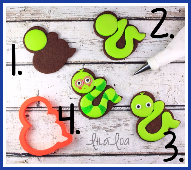 Cookie decorating tutorial -- bookworm cookies for school!