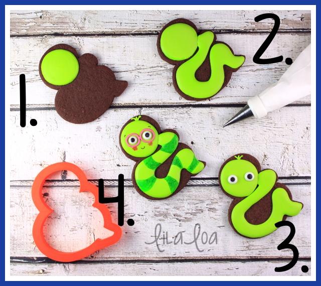 Cookie decorating tutorial -- bookworm cookies for school!