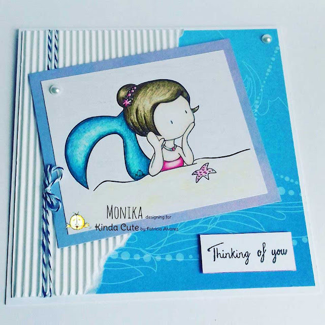 thinking of you card with a mermaid