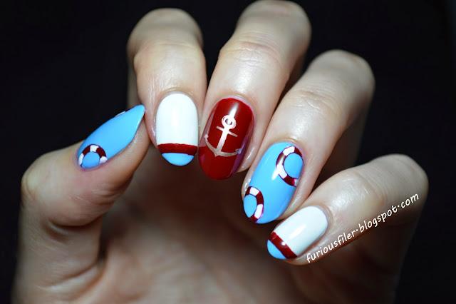 nautical nail sailor marine nail art