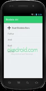 Hasil Tampilan Awal Biodata Diri Sqlite CRUD Android