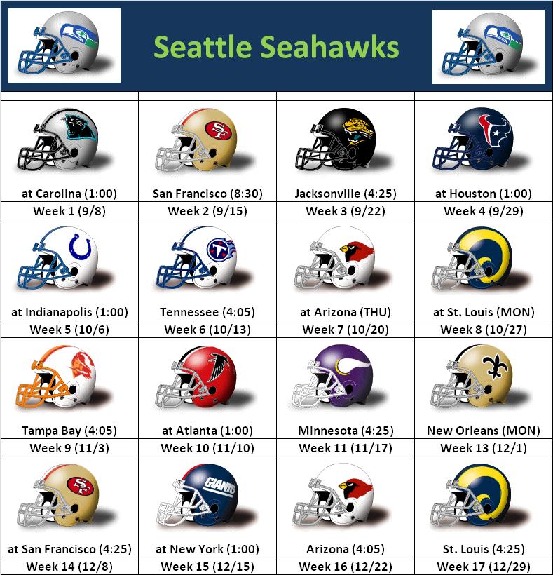 Seattle Seahawks Schedule: SimonOnSports: 2013 Seattle Seahawks Helmet Schedule