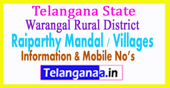 Raiparthy Mandal Villages in Warangal Rural District Telangana