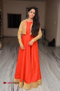 Telugu Actress Divya Nandini Stills in Orange Sleeveless Gown at Chennai Chaitrama Movie le Launch Event  0120.JPG