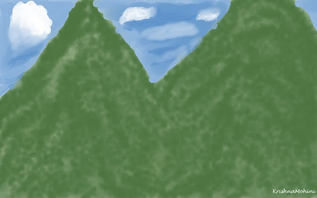 Painting: Dreamland of green mountains