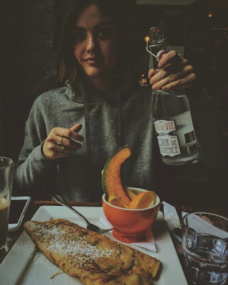 Lucy Hale drinking eau de vie with crepe in Canada, no longer drinks alcohol