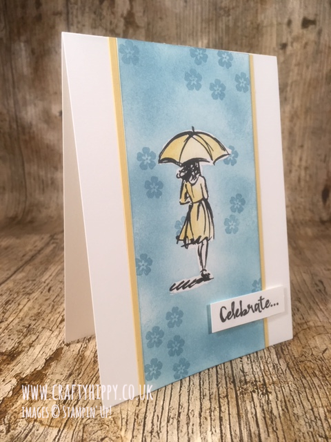 So Saffron and Balmy Blue handmade card showing a lady in a yellow dress holding a parasol with the word 'celebrate' made with the Beautiful You stamp set by Stampin' Up!