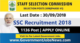 Staff Selection Commission SSC Recruitment Selection Posts (Phase-Vi)1136 Post Apply Now
