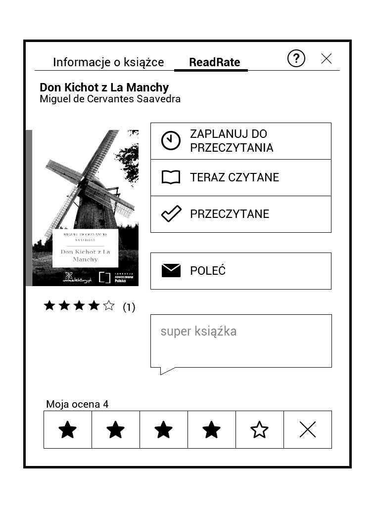 PocketBook Aqua 2 - ustawianie statusów ksiązki w aplikacji RadRate