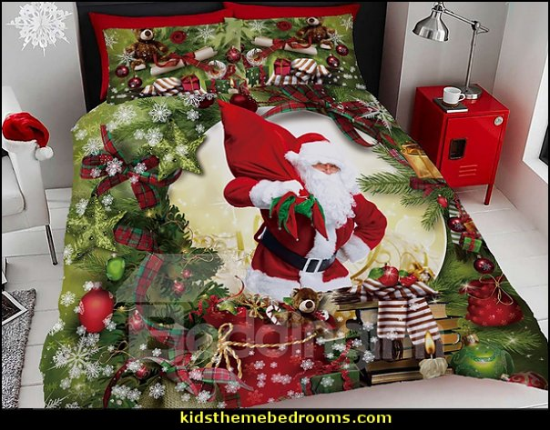 Santa Claus and Christmas Ornaments Digital Printing Cotton 4-Piece Bedding Sets