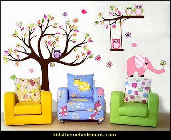 cartoon tree wall mural decals fun bedroom wall decorations kids rooms