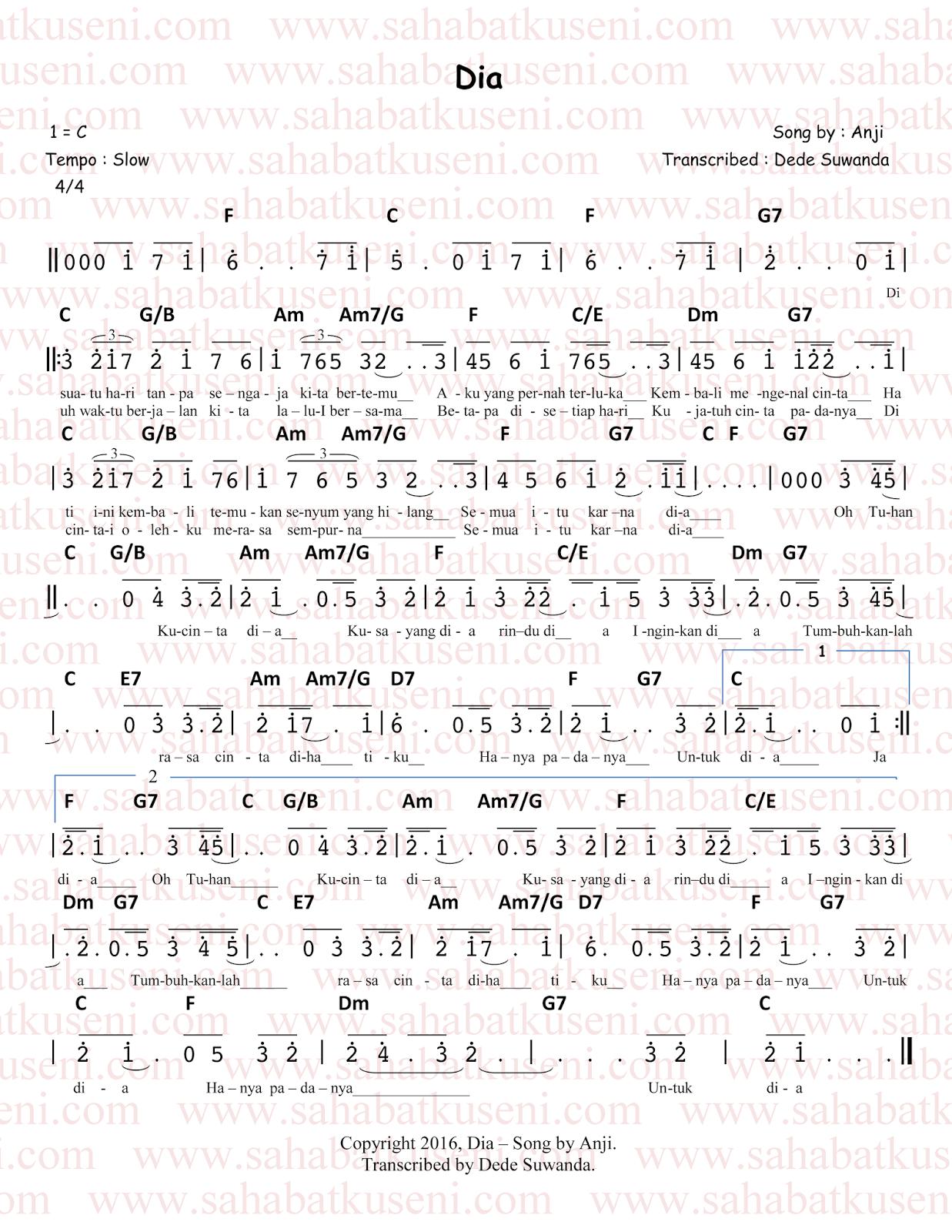 not angka lagu dia anji berikut lirik dan chord