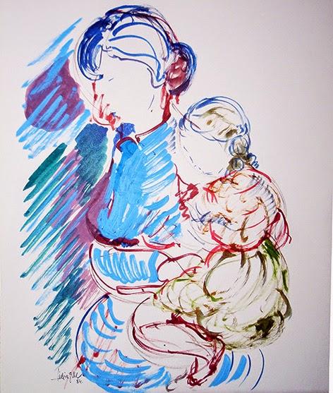 Madre con hija. Tinta de L.G.Mayo