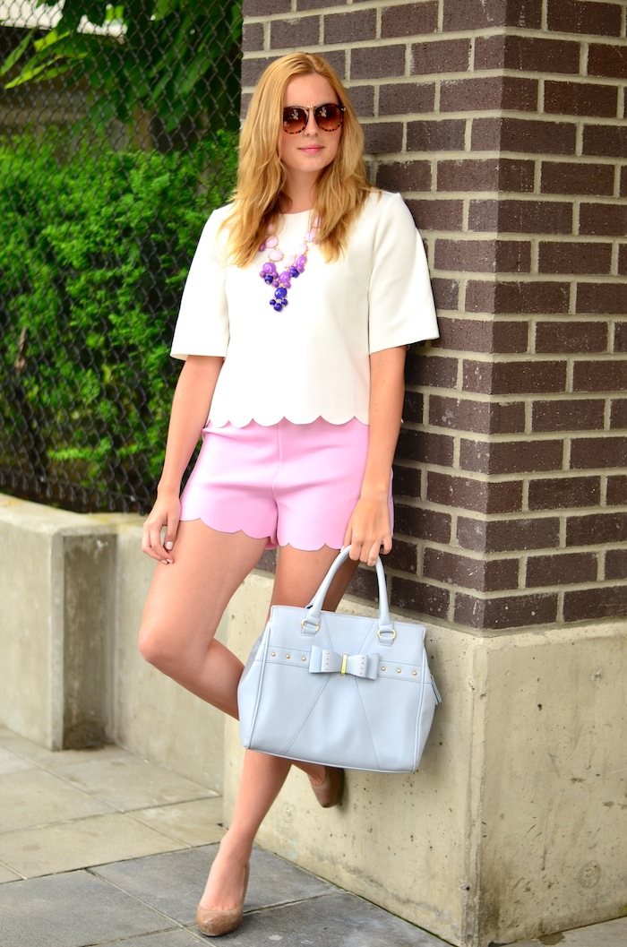 Pink Scalloped Shorts
