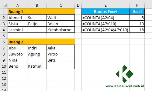 Menghitung sel tidak kosong dengan COUNTA