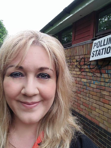 Julie outside the polling station in Matley, Orton Brimbles
