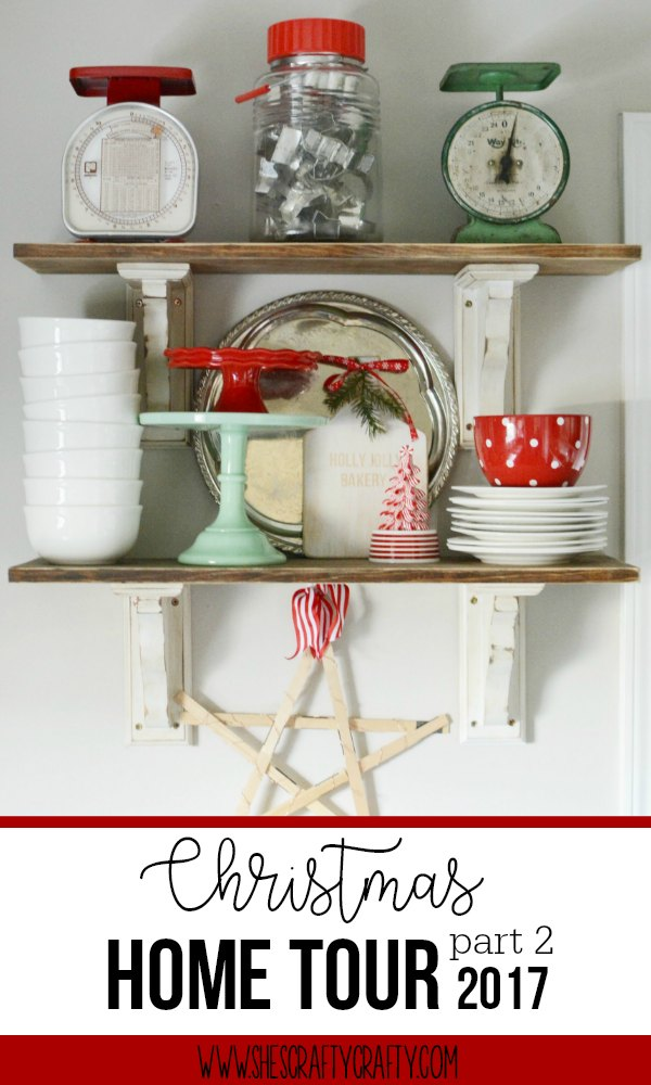 red and green dishes, farmhouse shelves, open shelving