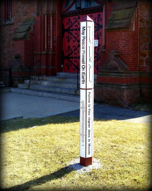Peace Pole, Saint Stephan, Episcopal, Church, Lynn, Massachusetts, shadow