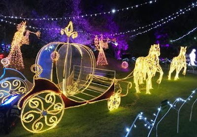 Lights of Horses with pumpkin carriage at the Garden of Lights