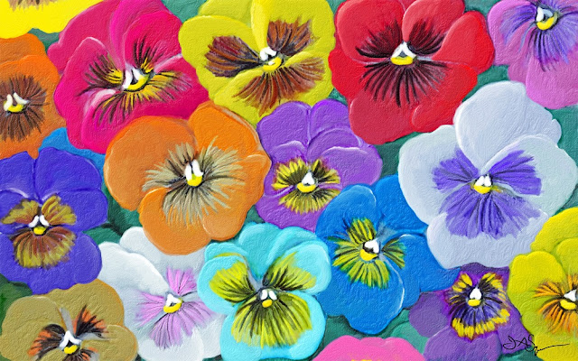 Bright Pansies Painting