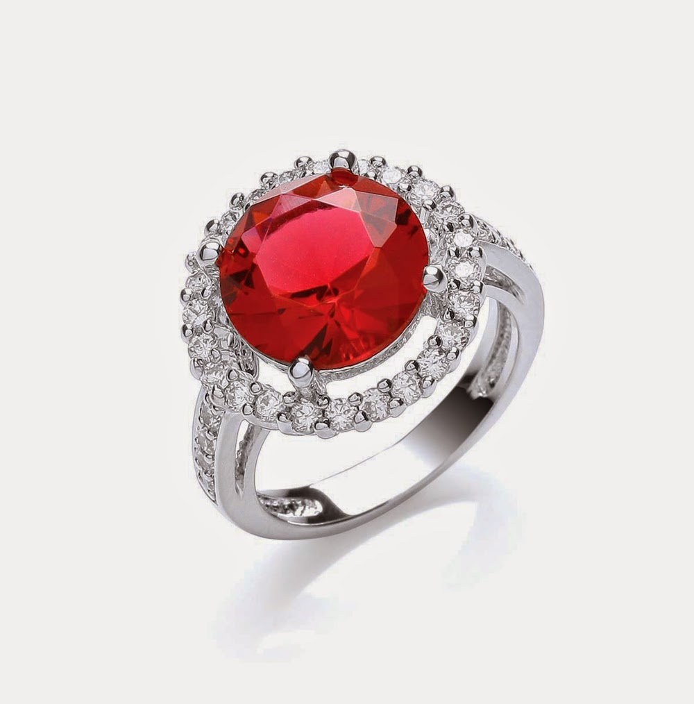 Attwood and Sawyer Ruby Red Windsor Roulette Cocktail Ring
