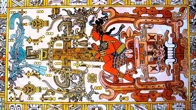"""Tumba de Pacal en Palenque (el """"astronauta"""")"""