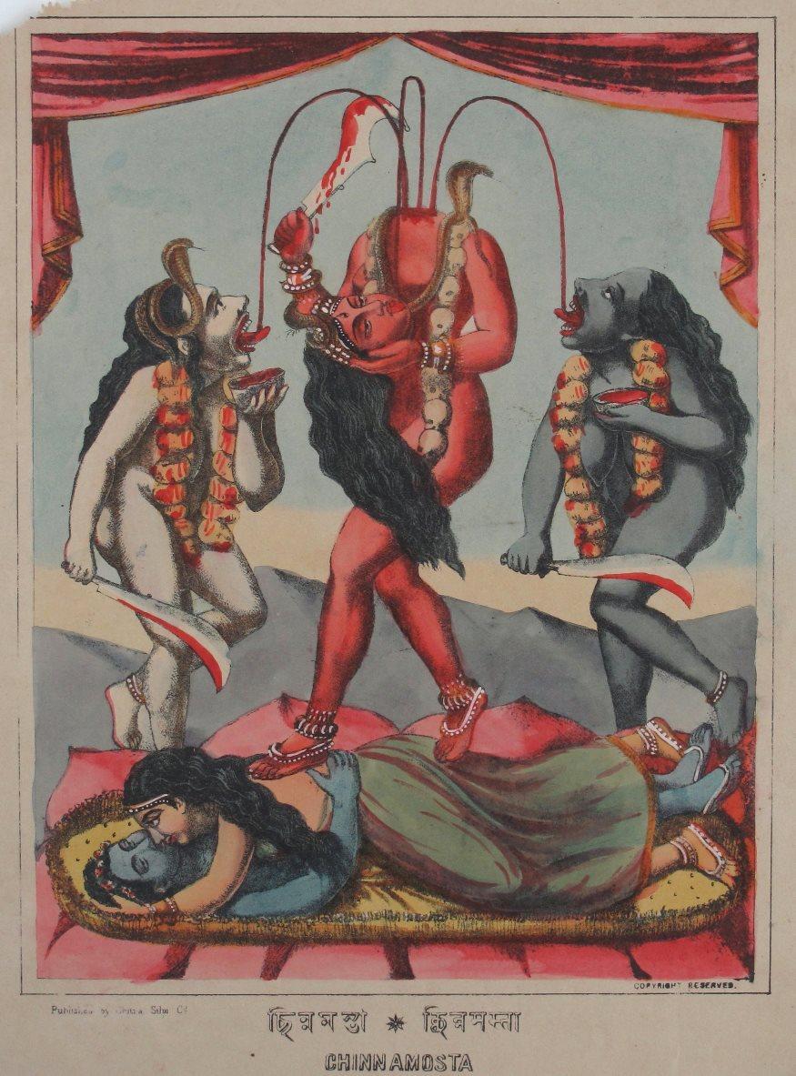 Goddess Chinnamasta - Hand Coloured Lithograph, c1880's