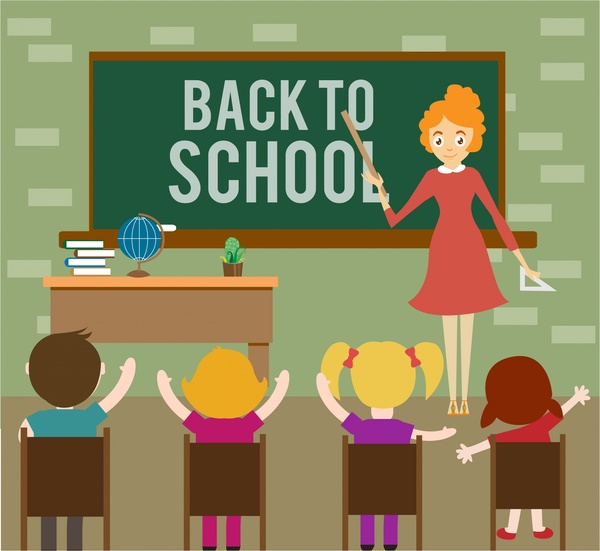 Back to school theme teacher and pupils design Free vector